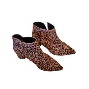 LK Bennett Womens Tamara Leopard Printed Pointed Toe Calf Hair Ankle Boots 5