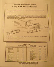 Wen-Mac Additional Instruction Sheet Photocopy for Army A-24 Attack Bomber Plane