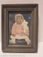 Vintage 1920'S Colored Photograph Of Baby In Wood Frame