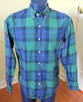 J.Crew Plaid Men's Shirt Blue Green Tartan Plaid Medium Long Sleeve Button Down