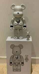 Mastermind Japan Medicom BE@RBRICK 100% & 400% White chrome bearbrick set