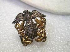 """WWII Goldtone & Sterling Navy Hat Badge,  Officer's Barracks Badge, 1"""" w/ clips"""