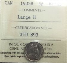 Canada 1903 Large H  Variety 5 Cents Silver  Graded ICCS EF 45 Semi Key Date
