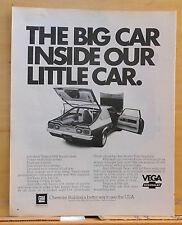 1972 magazine ad for Chevrolet - Vega little car with Impala insides