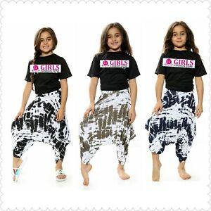 Girls Tie Dye Print Gathered Drape Loose Baggy Ali Baba Harem Pants/Skirt