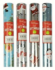 4 Rolls Novelty Fun Kids Christmas Wrapping Paper 12M Xmas Traditional Gift Wrap