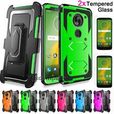 For Motorola Moto E5 Plus/Supra Case With Kickstand Belt Clip+Screen Protector