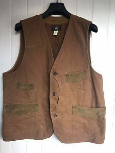 Used Vintage Polo Ralph Lauren RRL Duck Canvas Vest XL XXL Brown