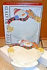 Fitz and Floyd Ff Snowman Frosty Folks Canape Plate Christmas Decor Ceramic