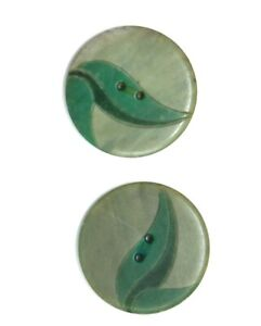 Elegant deco inlaid leaf buttons green sew through celluloid or casein