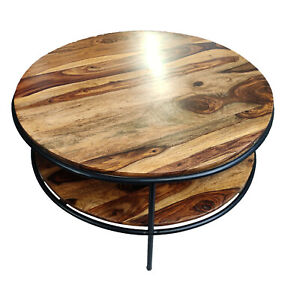 Indian Handmade Designer Round Shape Wooden Top with Iron Stand Center Table