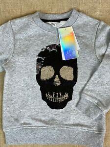 H&M Kid Boy Skull Sweatshirt 3-4 Yrs Black & Silver INTERACTIVE Sweatshirt NWT