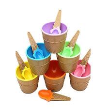 Children Plastic Ice Cream Bowls Spoons Set Durable Ice Cream Cup Dessert HGUK