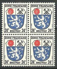 Germany 1945 Sc# 4N9 French zone Saarland 24pf block 4 MNH