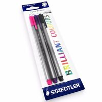 3 X Staedtler Triplus Fineliner Penne – 0.3mm– Asciutto Sicuro – Nero, Rosa And