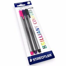 3 x Staedtler Triplus Fineliner Pens – 0.3mm – Dry Safe – Black, Pink and Purple