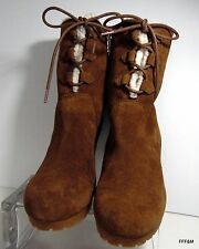 UGG Stylish Suede Wedge Michael Kors Sherling Trim Winter Boots Size 8