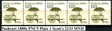 Pushcart Transportation Coil MNH PNC5 Strip of 5 PL #1 Scott 2133