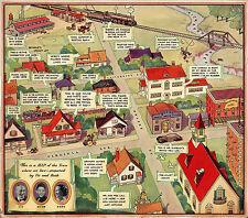 1935 Map the Town Where We Live Vic and Sade Radio Program Wall Art Poster Print