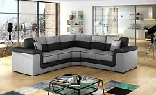 huge sale new large symphony leather + fabric corner sofa black grey white cheap