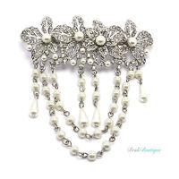 Boho Vintage Silver Flower Crystal & Pearl Hair Chains Barrette Clip Grip CL19