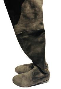 Stuart Weitzman SW Gray Suede Zip Over the Knee Women's Boots Shoes