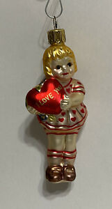 """Christmas Glass Ornament - Girl with """"I Love You"""" Heart"""