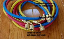 "60""HVAC R410a Hose Set Manifold Gauge 800/4000PSI EPA Applied Low-Loss Fittings"