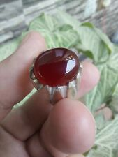 RED Yemeni Aqeeq Silver Ring Kabadi Liver Agate Akik Hakik Silver Islamic Sufi