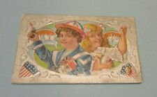 1910 Era Fourth of July Holiday Boy Girl Cap Gun Toys Silver Embossed Postcard