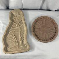1981 &1988  Shortbread Tabby Cat Hartstone Gingerbread Cookie Mold~USA Stoneware