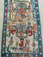 VTG Custom Hand Tooled Painted Dyed Leather Aztec Art Tribal Southwest 14 X 9