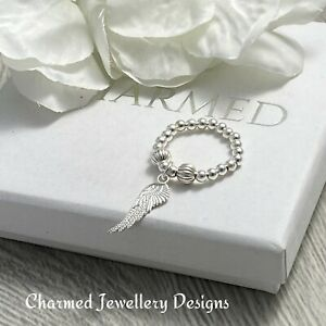 charmed stretch ring sterling silver stacking thumb wing  charm  925