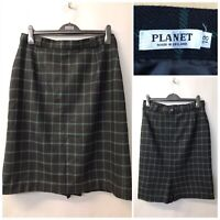 Planet Black Green Mix Check Pure New Wool Skirt UK 18 EUR 46 Made in England