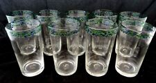 Vintage Blown Glass Green & Blue Confetti Speckle Rim Tumbler Glasses Lot Of 9