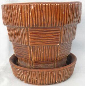 "Vintage McCoy Pottery USA Brown Basketweave 5"" Planter"
