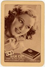Playing Cards 1 Swap Card Vintage CWS SILK CUT Cigarettes LADY Smoking Cigarette