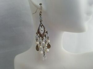 Freshwater Pearl Crystal Chandelier Earrings Hammered Silver Tone Drop Dangle