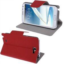 Slim Tasche Glatt Etui Case Hülle Rot für Samsung Galaxy Note II / N7100