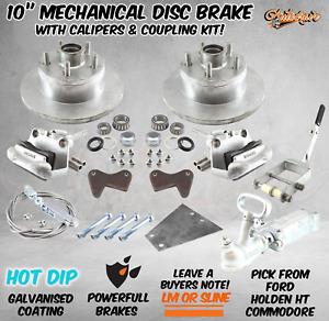"""Boat Trailer Galvanised Mechanical 10"""" Disc Brake Kit Caliper Coupling Plate Arm"""