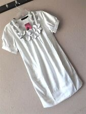 NWT EVER-PRETTY S SATIN EMBELLISHED DRESS White Gray Shift Bubble POCKETS Party
