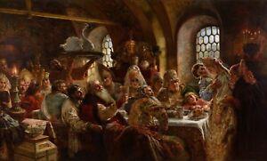 Canvas print old master Konstantin Makovsky.1883,A Boyar Wedding Feast HD photo