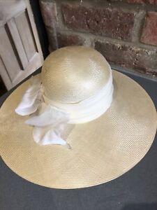 Vintage Marida Raffia Straw Wide Brim Hat 1980s Summer Wedding Races Boho