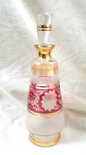 Vintage Bohemian Glass Decanter Hand Etched Flash & Frosted Glass w/ Stopper