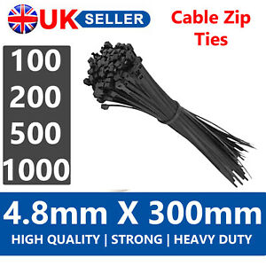 100/200/500/1000 BLACK NYLON 4.8MM x 300MM STRONG QUALITY PLASTIC CABLE ZIP TIES
