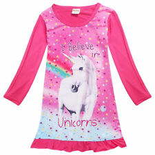 2018 Unicorn Dresses Pajamas For Girls Spring Long Sleeve Dress Kids Clothes