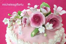 Large Sugar Gum Pink Mauve Roses & Lily Cake Decorating Flowers FREE SHIP