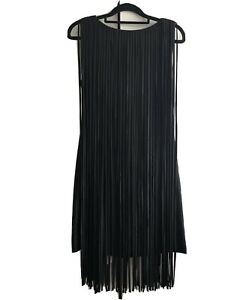 KATE MOSS For TOPSHOP SIZE Small Tassel Fringe Black Dress. Brand New With Tags