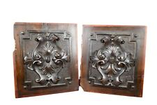 Architectural Pair of 19th Carved Walnut Wood Panels