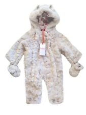 Ted Baker Snowsuit Pramsuit Baby Girl Faux Fur Pink Mittens DESIGNER 9-12 Months